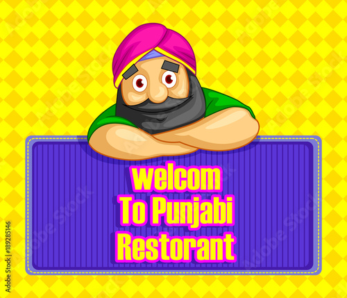 Fotografie, Obraz  cartoon style Punjabi character illustration