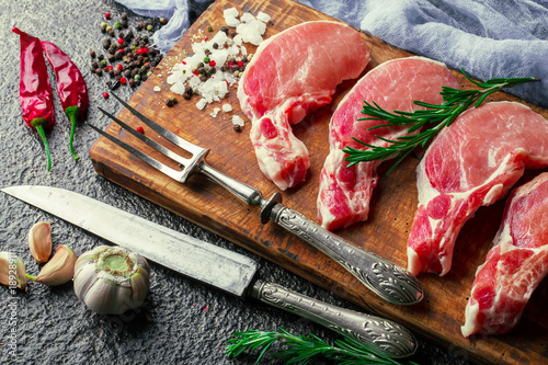 Garden Poster Steakhouse Raw meat on the old background