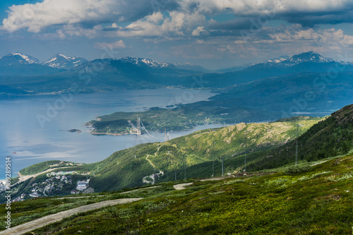 Tuinposter Groen blauw Norway, Narvik bay panorama view