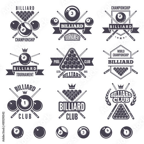 Fotografie, Tablou  Logos set for billiard club
