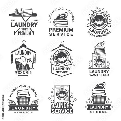 Canvas Print Labels or logos for laundry service. Vector monochrome pictures
