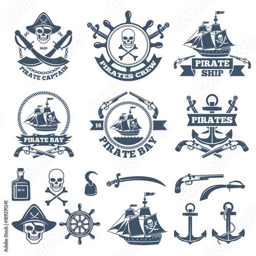 Fotografie, Obraz Vintage nautical and pirates labels