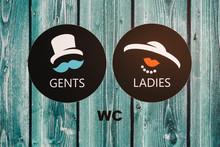 Vintage Wc Signs On Wooden Green Door