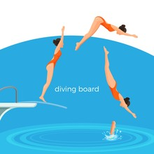 Diving Board And Female Swimme...