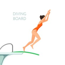 Diving Board And Girl In Red S...