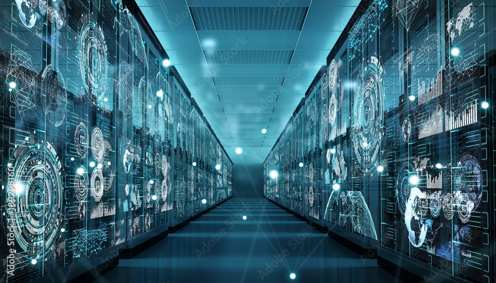 Fototapeta Graph holograms flying over server room data center 3D rendering
