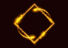 Modern Glowing Rhomb With Magic Gold Light Effect, Light Trail, Sparkle, Flare, Glitter, Flash. Luxury Rectangle Frame With Empty Space For Text. Vibrant Illustration With Transparency. Isolated.