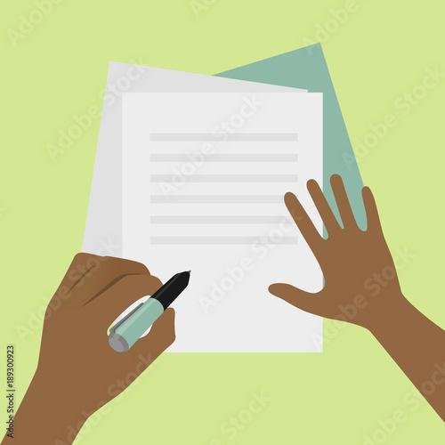 Left-handed signature on paper concept illustration © James Ser