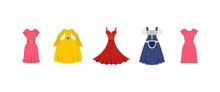 Dress Icon Set, Flat Style