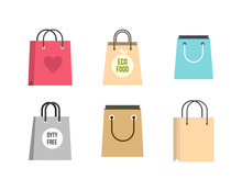 Shopping Bag Icon Set, Flat St...