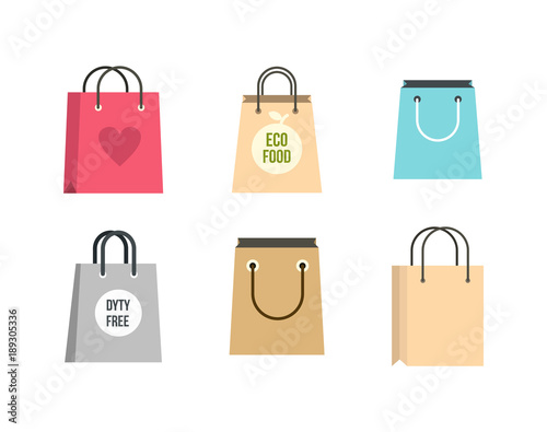Shopping bag icon set, flat style Canvas Print