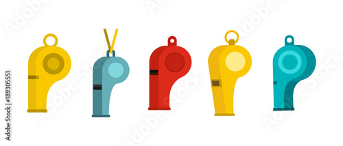 Fotomural  Whistle icon set, flat style