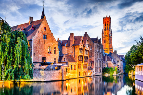 Foto auf Leinwand Brugge Belfry, Bruges, Belgium