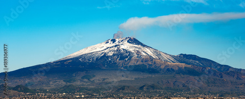 Mount Etna Volcano and Catania city - Sicily island Italy