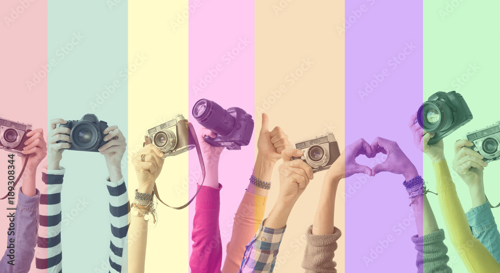 Fototapety, obrazy: Different color hands and cameras also colorful background