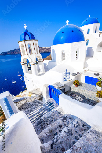 Fotobehang Santorini Oia, Santorini, Greece - Blue church Aegean Sea