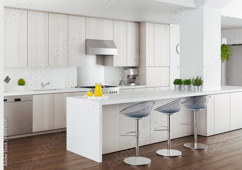 Obraz na plátně  Cucina bianca di design moderno, render alta definizione