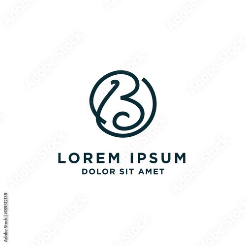 Photo B Initial Letter Circle Logo Template