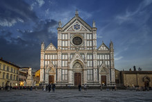 Santa Croce Church In Florence, Italy Shot On Dusk