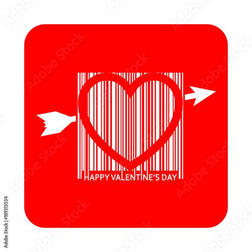 Icono plano codigo de barras HAPPY VALENTINES DAY corazon en cuadrado rojo Canvas Print