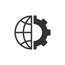 Globe And Gear Black Icon