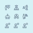 Outline Business people, meeting, team work vector simple icons for web and mobile design pack 4