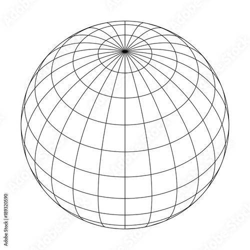 Earth planet globe grid of meridians and parallels, or latitude and longitude. 3D vector illustration. Wall mural
