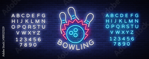 Bowling logo vector Canvas-taulu