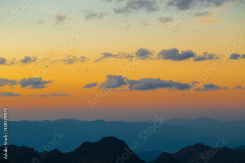 Fototapety, obrazy: Majestic sunset coulourful sky mountain layer