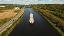 Aerial View:Barge With Cargo O...