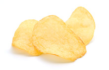 Chips Potato Isolated On White...
