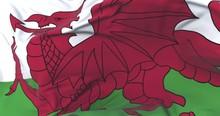 Wales Flag Waving At Wind In Slow With Blue Sky, Loop