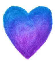 Blue Heart In Watercolor Isola...