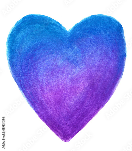 Fotografie, Obraz  Blue heart in watercolor isolated on white background