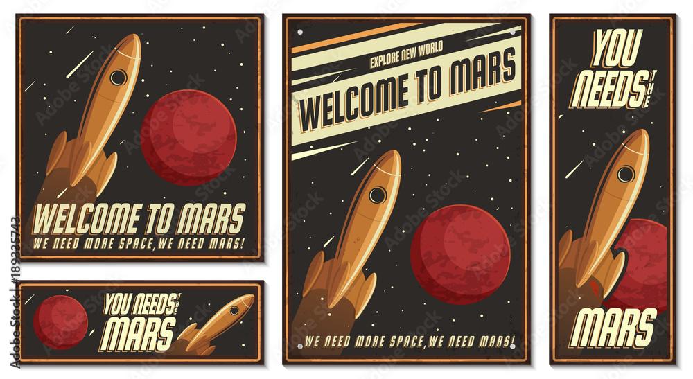 Fototapety, obrazy: Astronaut Illustration. Retro poster.