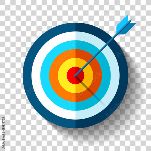 Target Icon In Flat Style On Transparent Background Arrow The Center Aim Vector