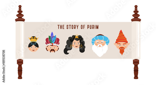 Photo the story of Purim with traditional characters