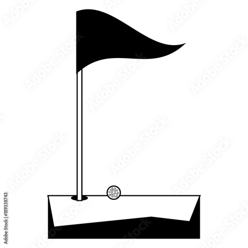 Fotografie, Tablou  Golf hole and flag icon