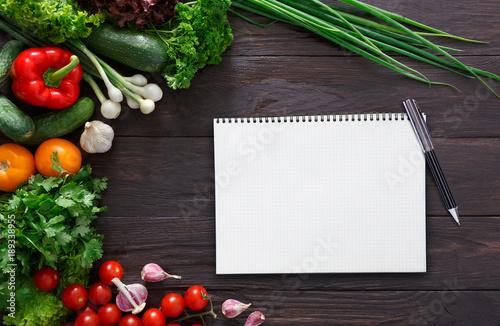 Fototapeta Mockup for healthy dishes recipes obraz na płótnie