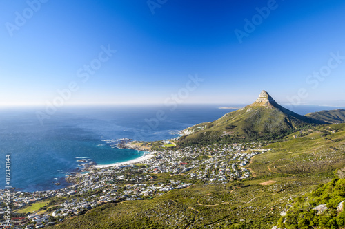 Fotografie, Obraz  Stunning panorama view of the suburb of Camps Bay and Lion's Head mountain in Cape Town, South Africa