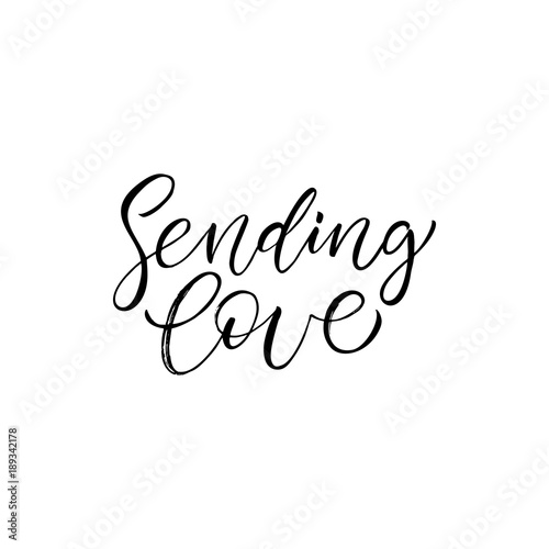 Photo  Sending Love - modern brush calligraphy
