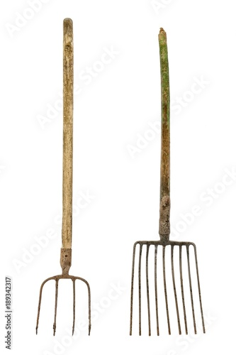 Fotografía Old dirty pitchforks isolated on white background.
