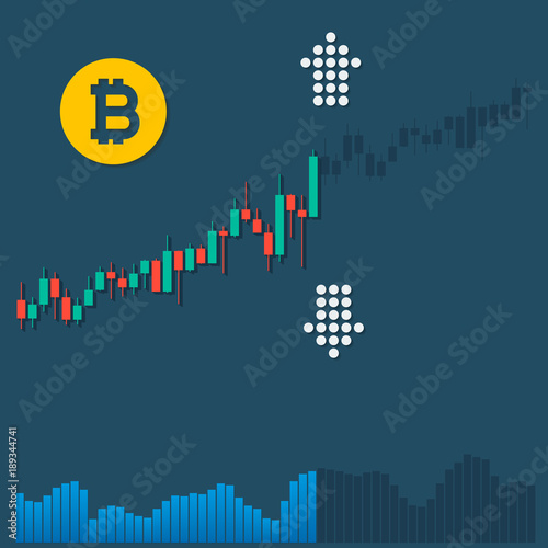 Bitcoin Logotype Cryptocurrency With Growth Market Color Chart And