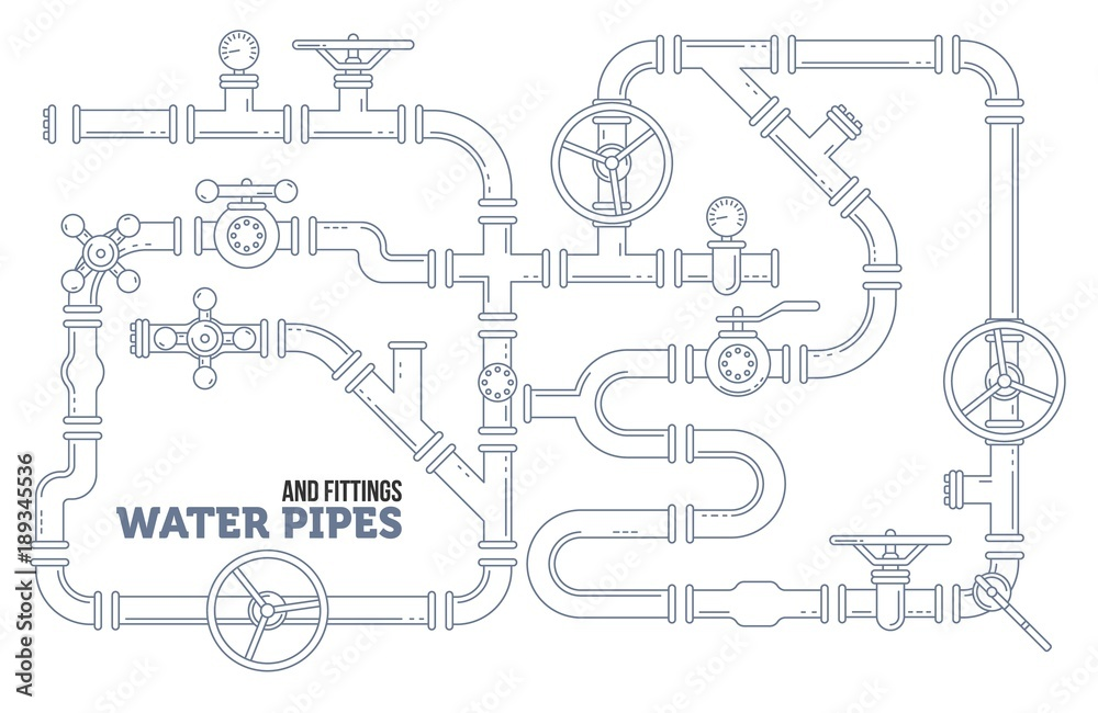 Fototapeta Elements of a plumbing. Pipes, cranes. Linear design Vector illustration