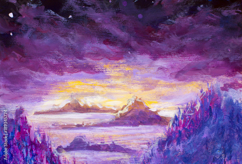 Foto op Aluminium Snoeien Painting of violet mountains and islands, vegetation, dawn, abstract landscape, mystical nature, post-apocalypse, sunset illustration for book, fairy tale art