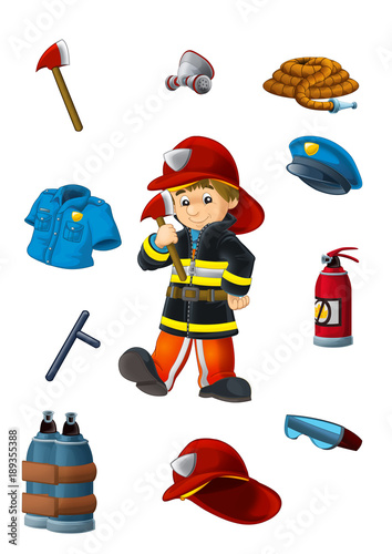 Canvas Prints Robots Cartoon happy and funny fireman with elements to match - exercise for kids - illustration for children