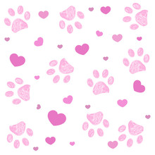 Pink Paw Print With Hearts Bac...