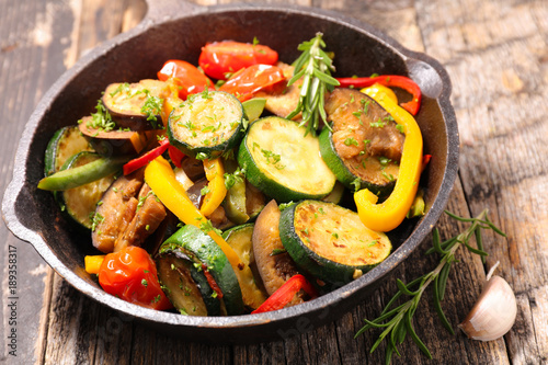 Fototapeta grilled vegetable and herbs, ratatouille obraz