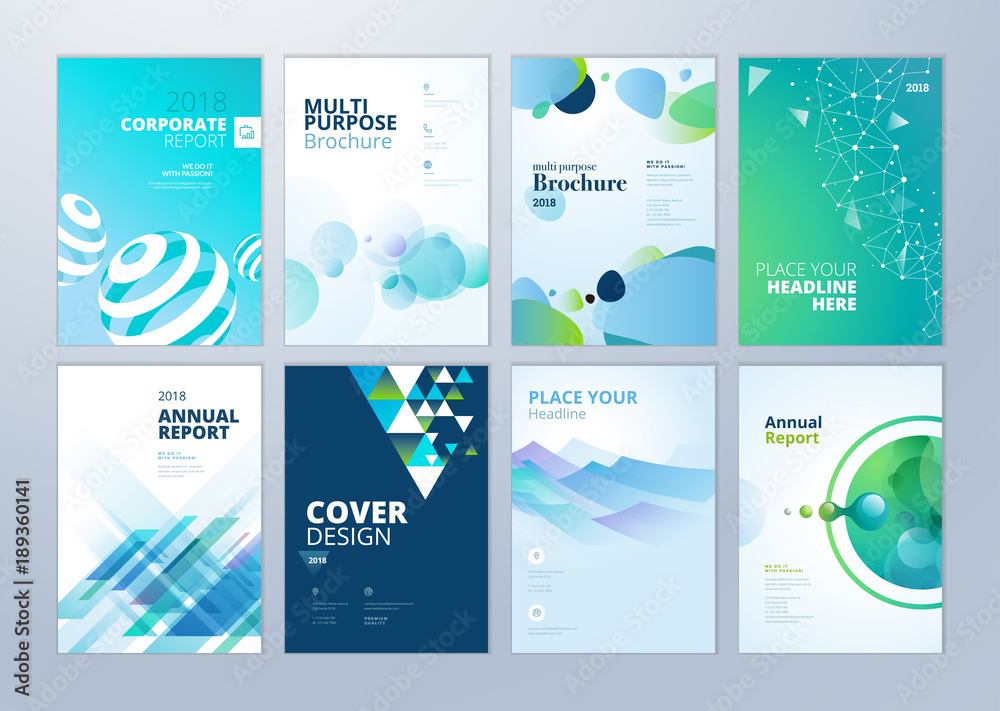 Fototapeta Set of brochure, annual report, flyer design templates in A4 size. Vector illustrations for business presentation, business paper, corporate document cover and layout template designs.