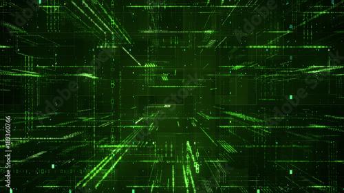 Photo Digital binary code matrix background - 3D rendering of a scientific technology